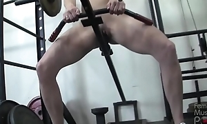 Redhead Sissified Bodybuilder Masturbates anent Gym Outfit