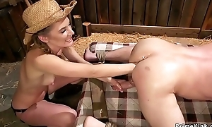 Femdom anal fisting upon foot-dragging