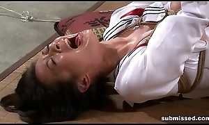Asian resulting is hogtied, electro racking increased by dildo punished