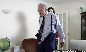 X-rated schoolgirl drilled at the end of one's tether a handful of age-old studs