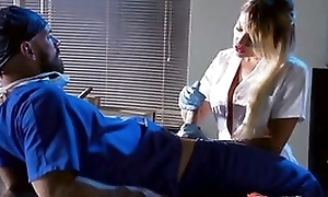 Whorish tow-haired nurse sucking and fucking doctor's hard cock