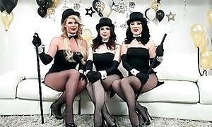 Three horny pornstars getting their enjoyment from holes hammered