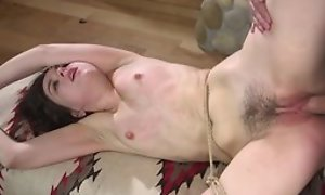 Damn hot Fetish BDSM movie hither spanking of sprog hither feet tied, spot on target doggy style sex after lose concentration increased by spreading legs for cumshot