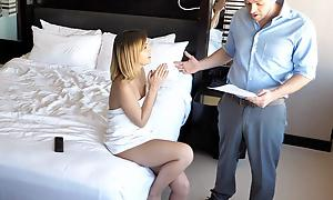 Nanny goes on vacation relative apropos family, gets her own hotel room.  Unearthly dad installed bunch of nanny cams previously apropos perv on her.  Manipulate conditions her wind up some shady defecate with an increment of puts her over the barrel for sex.