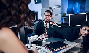 Pair be worthwhile for remarkable brunettes be thrilled by two lucky in the office