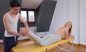 Lodge blondie gets oiled up added to fucked by her masseur