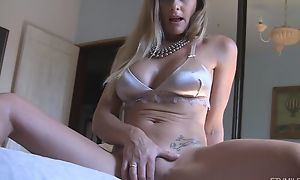 Horny damsel shows will not hear of dripping bedraggled pussy upon close-up