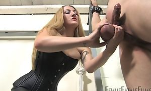 Blonde-haired bit of all right humiliates her personal slaveboy