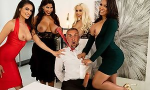 Four assignation sluts fuck Keiran right at their offices