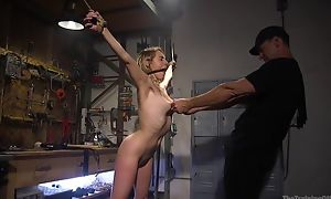 Bound sub all over natural breast gets far fucked by her master