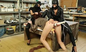 Submissive woman gets her muddied pussy massaged concerning vibrator
