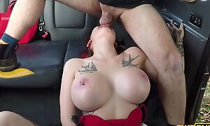 Big-breasted prostitute gets fucked by her taxi driver